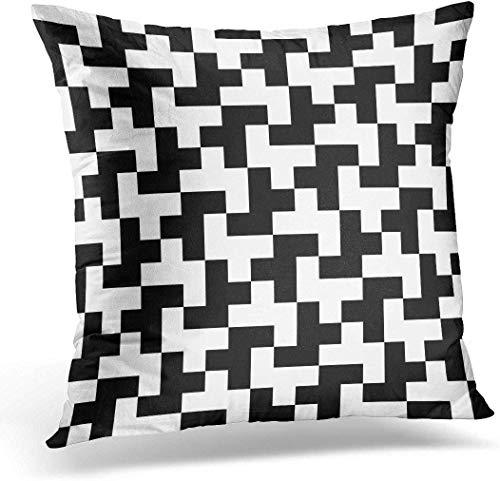 Dekokissen Geometry Pattern Abstract Geometric Tiling Schwarzweiss-Tetris-dekoratives Kissen für Sofa Bedroom Car