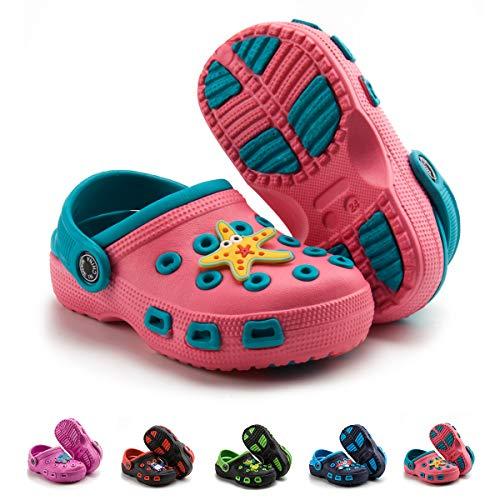 Babelvit Boys Girls Water Clogs Garden Sandálias fofas Sapatos Slides Slip On Leve Praia Piscina Pantufa (Bebê/Criança pequena), 509 Pink, 11 Little Kid