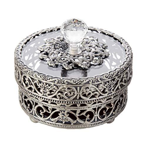 LTCTL Caja De Joyería Hueca con Tapa De Vidrio Joyería De Metal Trinket Organizer Anillo Pendientes Collar Decoración para El Hogar (Color : Silver)
