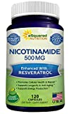 Nicotinamide with Resveratrol - 120 Veggie Capsules - Vitamin B3 500mg (Niacinamide Flush Free) - Supplement Pills to Support NAD, Anti Aging Skin Cell Health & Energy