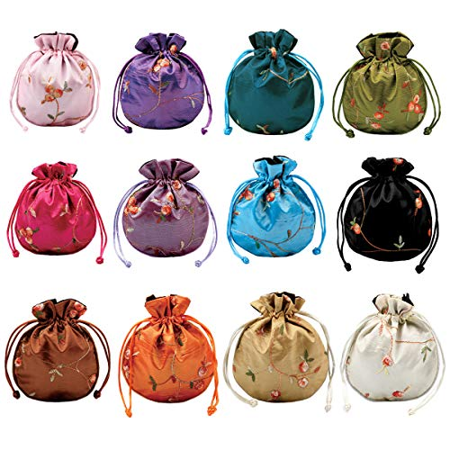 kilofly 12 Silk Coin Purse Drawstring Floral Embroidered Jewelry Bag Gift Pouch