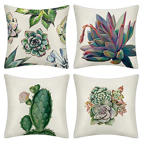 JOTOM Tropische Pflanzen Blätter Kissenbezüge 45 X 45 cm Kissenbezug Home Sofa Dekokissen Kissenbezüge Set Kaktus Blumen grüne Muster (Saftig)