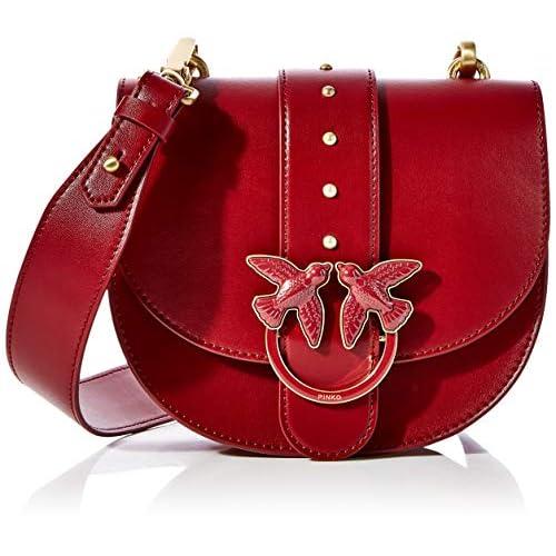 Pinko Round Love Simply, Borsa a spalla Donna, Rosso (Dark Red), 7x17x20 cm (W x H x L)