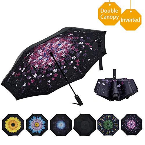 VIWINVELA Inverted Automatic Umbrella Double Layer Windproof Reverse Folding Umbrella for Car Travel...