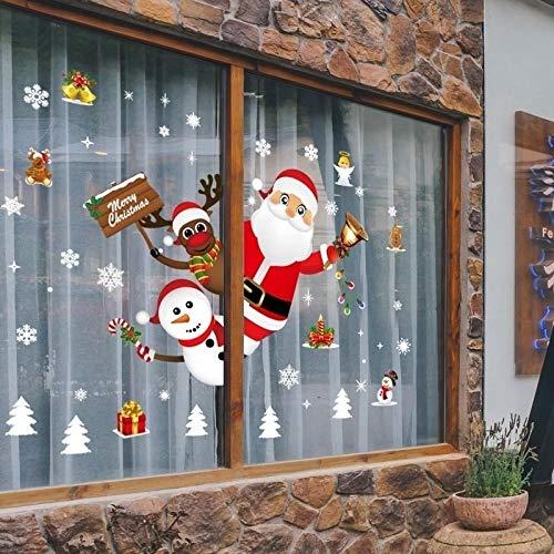 Decors Girlchristmas Stickers voor venster Showcase Verwijderbare Kerstman Sneeuwman Home Decor Sticker Lijm PVC Nieuwjaar Glas Mural