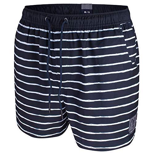Ceceba Herren Badeshorts Badehose Taschen | Übergrößen (6XL | 14, Navy Weiss gestreift)