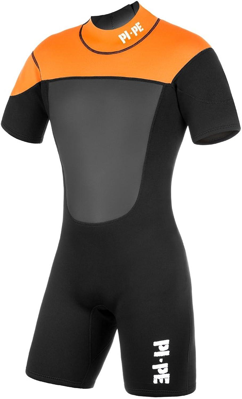 (Medium, orange  orange)  PiPe Mens Wet Suit Neoprene Spring Active ShortSleeved