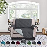 RHF Reversible Sofa Cover-Great for Home with Kids and Pets(Couch Cover for Dogs)-Features Elastic Strap, Pet Cover for Chair and a Half,Machine Washable(Loveseat Small: Darkgrey/LightGrey)