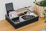 Fineway Aufbewahrungsbox aus Kunstleder, stilvolles Design, für Herren, für die Kommode und das Büro, Organizer mit 5Fächern für Karten, Schmuck, Handys, Uhren, Brieftaschen, Münzen,...