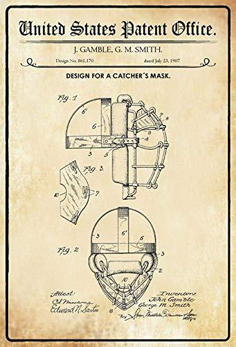NWFS patent ontwerp voor een baseball - vanger - masker - helm metalen bord bord metalen plaat plaat plaat metaal tin teken gewelfd gelakt 20 x 30 cm