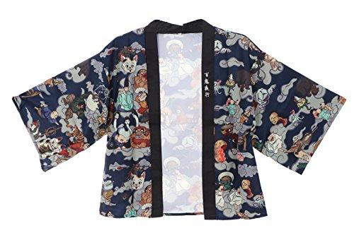 Kawaii-Story KJ-05-1 grau blau Night Parade of 100 Demons Japan Ghost Tales Haori Über-Jacke Geisha Kimono Yukata Harajuku