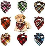 VIPITH Bandana per Cani, Confezione da 8 Bavaglini a Quadri, Lavabili e reversibili, con Triangolo Regolabile, Papillon per Animali Domestici e Gatti (Colore Casuale)