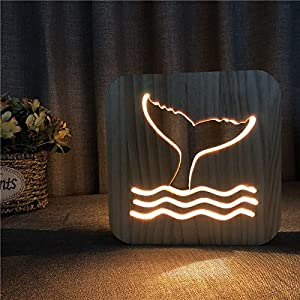 XDG Whale Tail 3D Wooden lamp LED Night Light Home Room Decoration Creative Table Lamps for Gift