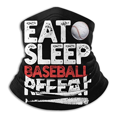 LCYYDECO Eat Sleep Baseball Repeat Microfiber Neck Warmer Headwear Bufanda Clima frío Invierno Deportes al aire libre Bandana Balaclava Unisex