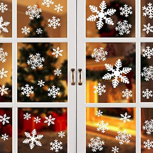 HUHUDAY 120 Weihnachts Fensterbilder, Fensterbilder Weihnachten Selbstklebend, Fensterbild Weihnachten, Deko Weihnachten, Weihnachten Fenstersticker, Winter Deko Weihnachtsdeko