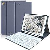 iPad Keyboard Case for iPad 6th Gen 2018, iPad 5th Gen 2017, iPad Pro 9.7, iPad Air 2, iPad Air 1, Detachable Bluetooth Keyboard Magnetic with Pencil Holder, Smart Tablet case