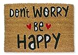 KOKO DOORMATS Zerbino Ingresso casa | Tappeto Ingresso casa Divertenti Don't Worry BE Happy in Fibra di Cocco e Base Tappeto Antiscivolo da PVC | Zerbini per Ingresso Esterno con Misure 40x60x1,5 cm.