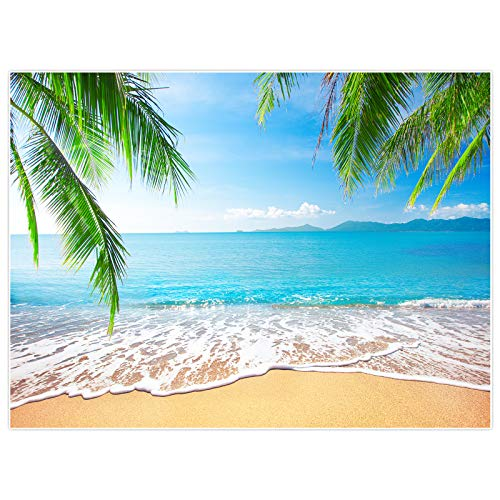 Allenjoy 8x6ft Soft Fabric Tropical Summer Photo Booth Backdrop Beach Party Decorations for Summer Wedding, Birthday, Holiday, Table Banner, Wall Decor, Tapestry
