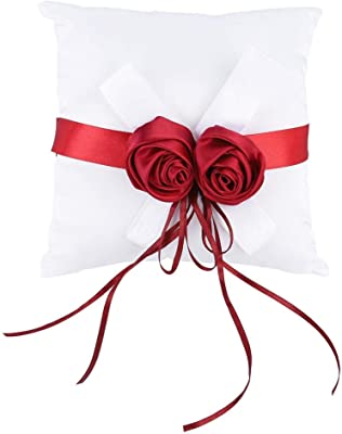 AMONIDA Accesorios de Boda, Almohada de Anillo Cuadrado, decoración de Cinta Blanca 7,9 x 7,9 x 3,7 Pulgadas Decorativa con Flor de Rosa Artificial para Accesorios de Boda Regalos de Boda