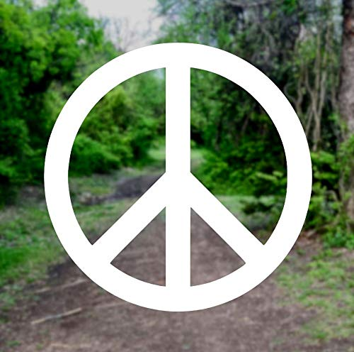 Peace Sign Symbol [Pick Any Color] Vinyl Transfer Sticker Decal for Laptop/Car/Truck/Window/Bumper (3in x 3in, White)