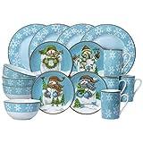 xmas dishes - Pfaltzgraff Evergreen Ernie Dinnerware Set, 16 Piece, Blue, White