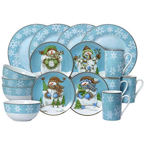 Pfaltzgraff Evergreen Ernie Dinnerware Set, 16 Piece, Blue, White