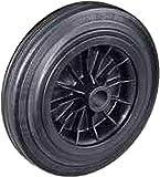 Rueda con anillo de goma plena negra con disco de plástico buje con agujero pasante ruedas para carros de transporte manual para cargas ligeras. Sector industrial, 100, 1