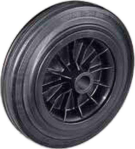 Ruota con anello in gomma piena nera con disco in plastica Diametro mm.150 Portata Kg.140 Mozzo con foro passante Ruote per carrelli a traslazione manuale