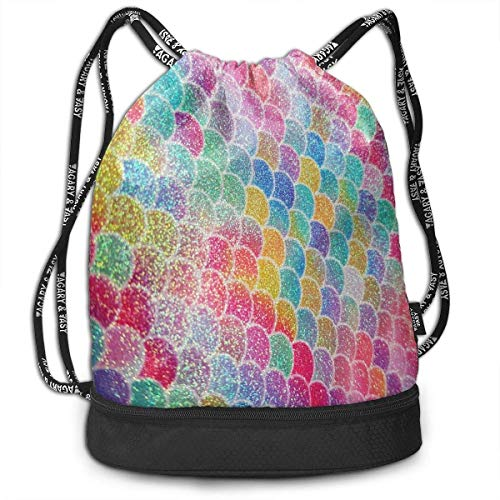 zhangyuB Polyester Kordelzugbeutel Theft Proof Waterproof Large Size Rucksack Large Capacity for Basketball, Volleyball, Baseball, Sports & Workout Gear (Colorful Mermaid Fish Scales)