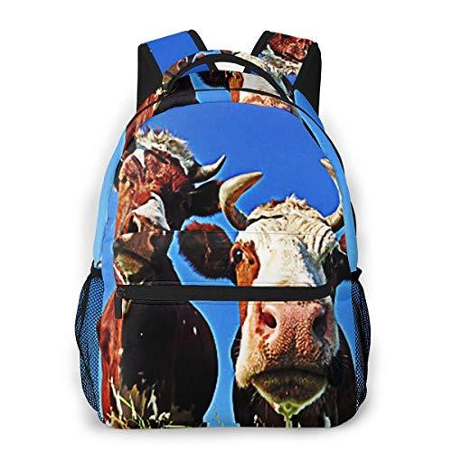 Laptop Rucksack Schulrucksack Weidendorf der Kühe füttern, 14 Zoll Reise Daypack Wasserdicht für Arbeit Business Schule Männer Frauen