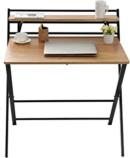 Small Folding Desk Computer Desk for Small Space Home Office Simple Laptop Writing TableNo Assembly Required (Khaki)