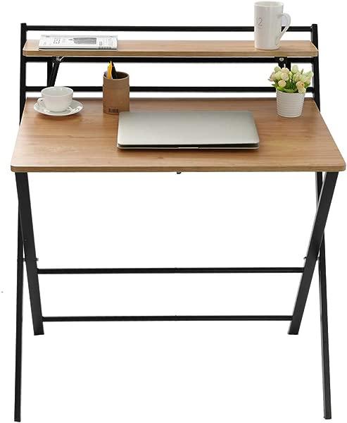 小型折叠桌电脑桌小空间家用办公室简易笔记本电脑写字台无需组装卡其色