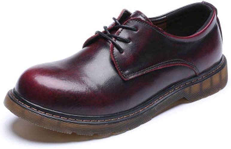 Shuo lan hu wai Chaussures Mocassins pour Hommes en Cuir véritable Low Bottines Cheville Big Kids Taille Disponible,Chaussures de Cricket (Couleur   Rouge, Taille   5 UK)