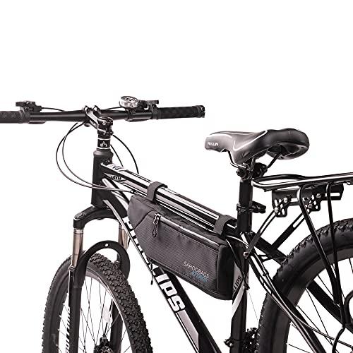 Tofern Rahmentasche Regenschutz Klettverschluss Zur Befestigung Fahrradtasche Mit Reflektorstreifen Lenkertasche, schwarz und dunkelblau