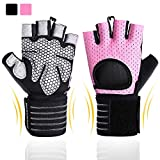 BOBURACN Workout Gloves for Women Men,Weight Lifting Gloves for Fitness ,Exercise,Climbing,Dumbbells,Breathable & Non-Slip Padded Gym Gloves (Pink with Wrist Support, L (Fits 8.07-8.66 inches))