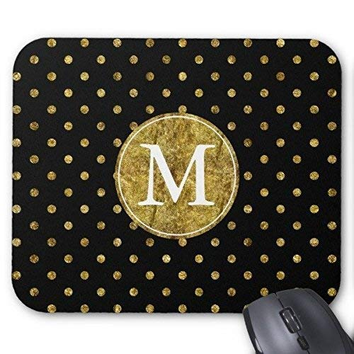 N\A Chic Gold Glam y Black Dots Monogram Mouse Pad