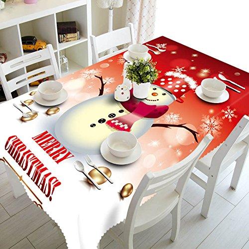 XXDD Decoración del hogar Mantel 3D Lindo muñeco de Nieve Tema patrón algodón Lavable y Mantel Redondo de año Nuevo A1 140x160cm