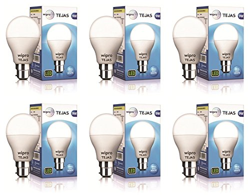 Wipro Tejas Base B22 9-Watt LED Bulb (Pack of 6, Cool Day...