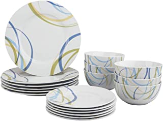 AmazonBasics 18-Piece Kitchen Dinnerware Set, Dishes, Bowls, Service for 6, Cool Ribbons