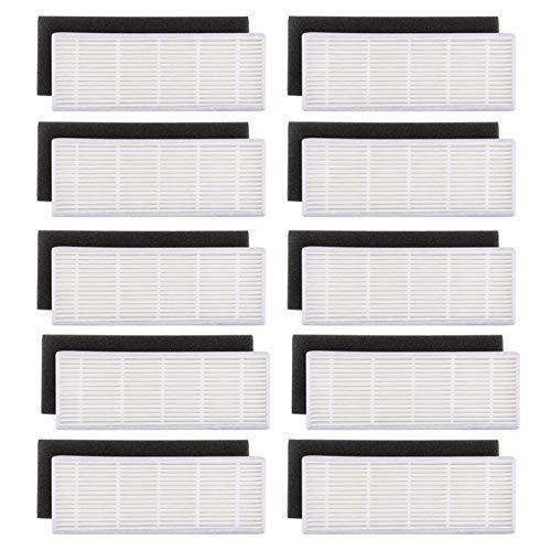 Cikuso 20pzs / Lote Filtro HEPA y filtros de Esponja Repuestos para ilife A4s A6 A4 A40 Filtro de Limpieza de Polvo Accesorios para aspiradoras