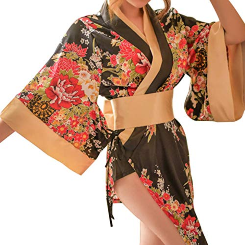 Bobury Floral Cosplay Kimono Femenino Accesorios de fotografía Sexy Girl Cosplay Escenario Disfraz