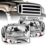 OEDRO Headlight Assemblies Compatible with 1999-2004 Ford F250/ F350/ F450/ F550/ Super Duty/ Excursion Truck, Chrome Housing (Driver & Passenger Side)