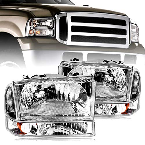 Headlight Assembly oEdRo Replacement for 1999-2004 Ford F250 | F350 | F450 | F550 | Super Duty | Excursion Truck Chrome Headlights