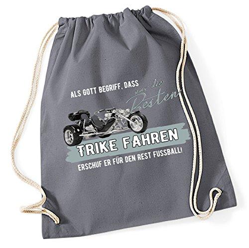 Siviwonder Turnbeutel - GOTT besten TRIKE fahren vintage Bike NO Fußball Dreirad Motorrad - Baumwoll Tasche Beutel grau