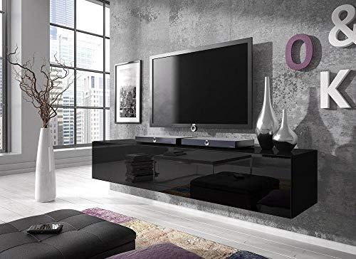 E-com Rocco Meuble TV Bas, 160 cm, Noir