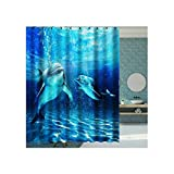 Rubyia Duschvorhang 180x180, Delfine 3D Motiv Duschvorhänge mit Duschvorhangringen, Polyester, Blau