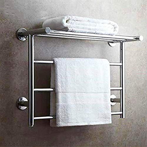 Rieles para toallas calefactables Calentador de toallas caliente de acero inoxidable 304, Calentador de toallas eléctrico montado en la pared con estante de almacenamiento, Toallero eléctrico cromado
