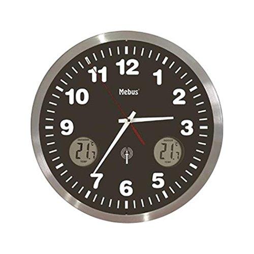 Mebus Funk-Wanduhr mit Thermometer Analog schwarz 41239, Silber