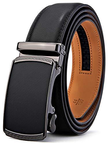 BULLIANT Gürtel Herren,Leder Automatik Gürtel für Männer Kleidung, Größe Angepasst, 027-schwarz184, 110cm/28-36taille verstellbar