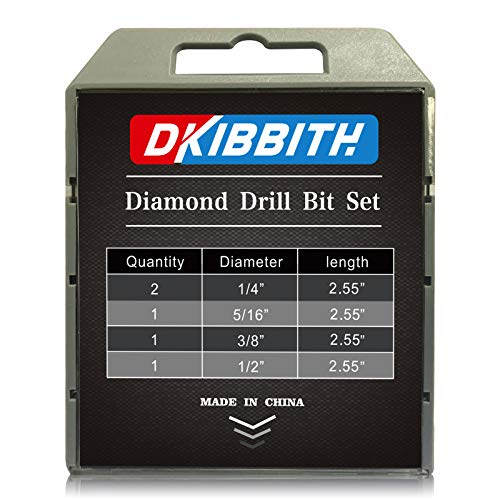 Dry Diamond Drill Bits Set 5 PCs for Granite Ceramic Marble Tile Stone Glass Hard Materials (not for Wood), Round Shank 1/4, 5/16, 3/8, 1/2 inch with Storage Case